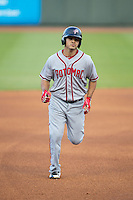Stephen Perez (4) of the Potomac Nationals rounds the base after hitting a solo home run in the top of the 1st inning against the Winston-Salem Dash at BB&T Ballpark on April 30, 2015 in Winston-Salem, North Carolina.  The Nationals defeated the Dash 5-4..  (Brian Westerholt/Four Seam Images)