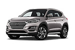Stock pictures of low aggressive front three quarter view of 2019 Hyundai Tucson Inspire 5 Door SUV Low Aggressive