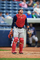 Cedar Rapids Kernels catcher Alex Real (4) watches a foul ball pop up during a game against the West Michigan Whitecaps on June 7, 2015 at Fifth Third Ballpark in Comstock Park, Michigan.  West Michigan defeated Cedar Rapids 6-2.  (Mike Janes/Four Seam Images)