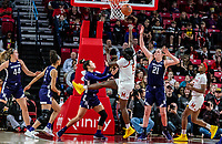COLLEGE PARK, MD - JANUARY 26: Ashley Owusu #15 of Maryland lobs in a shot during a game between Northwestern and Maryland at Xfinity Center on January 26, 2020 in College Park, Maryland.