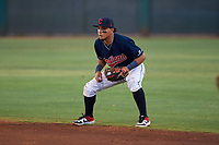 AZL Indians Red second baseman Jothson Flores (9) during an Arizona League game against the AZL Padres 1 on June 23, 2019 at the Cleveland Indians Training Complex in Goodyear, Arizona. AZL Indians Red defeated the AZL Padres 1 3-2. (Zachary Lucy/Four Seam Images)