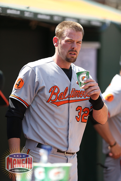OAKLAND, CA - APRIL 28:  Matt Wieters #32 of the Baltimore Orioles drinks Gatorade in the dugout during the game against the Oakland Athletics on Sunday, April 28, 2013 at The O.co Coliseum in Oakland, California. Photo by Brad Mangin