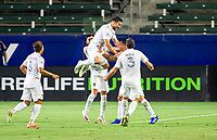 CARSON, CA - SEPTEMBER 06: Sebastian Lletget #17 of the Los Angeles Galaxy scores a goal and celebrates during a game between Los Angeles FC and Los Angeles Galaxy at Bank of California stadium on September 06, 2020 in Carson, California.