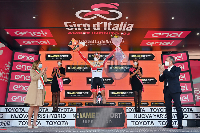 Diego Ulissi (ITA) UAE Team Emirates wins Stage 13, his 2nd in this years race and his eight stage win in all Giri, of the 103rd edition of the Giro d'Italia 2020 running 192km from Cervia to Monselice, Italy. 16th October 2020.  <br /> Picture: LaPresse/Massimo Paolone | Cyclefile<br /> <br /> All photos usage must carry mandatory copyright credit (© Cyclefile | LaPresse/Massimo Paolone)
