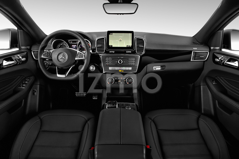 Stock photo of straight dashboard view of a 2019 Mercedes Benz GLE Coupe AMG GLE43 5 Door SUV