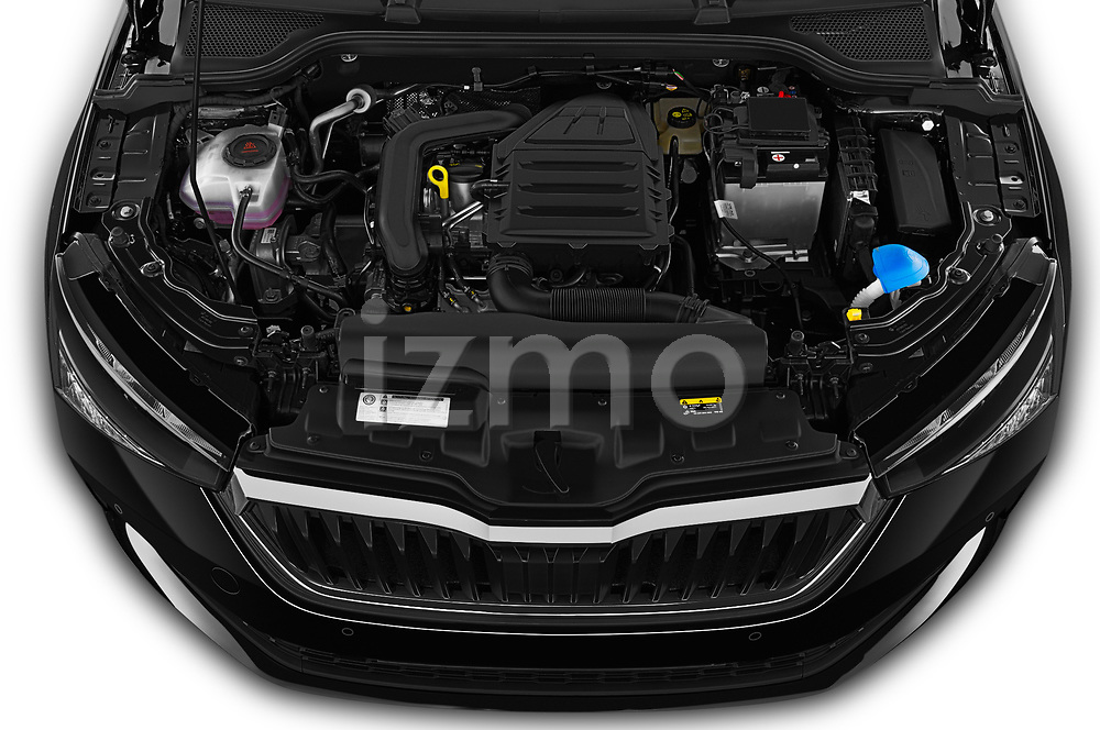 Car stock 2019 Skoda Scala  Ambition 5 Door Hatchback engine high angle detail view