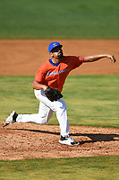 Kingsport Axemen pitcher Ryan Munoz (43) (Southeastern) during a game against the Bristol State Liners on June 13, 2021 at Boyce Cox Field in Bristol, Virginia. (Tracy Proffitt/Four Seam Images)