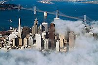 aerial photograph fog financial district Bay bridge San Francisco, California
