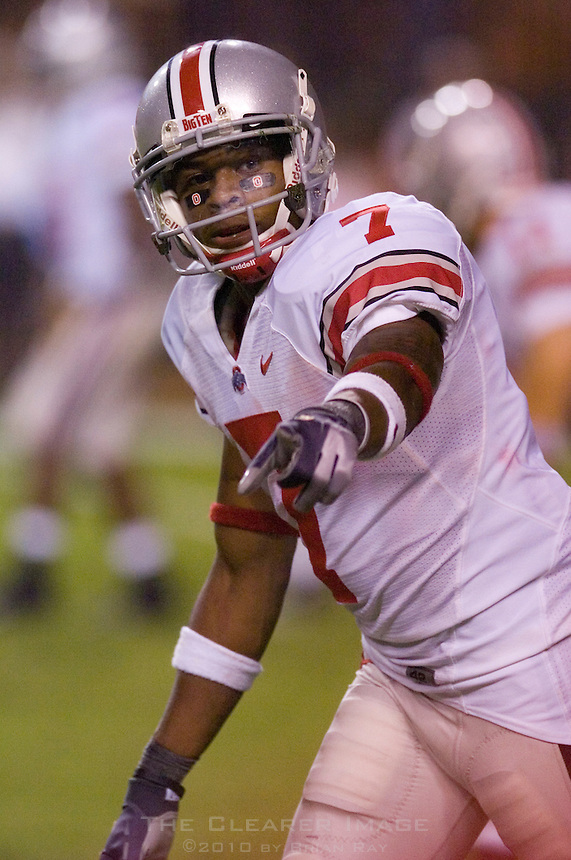 09 September 2006: Ohio State receiver and Heisman candidate Ted Ginn Jr. checks his spot on the line of scrimmage during the Buckeyes 24-7 victory over the Texas Longhorns at Darrell K Royal Memorial Stadium in Austin, TX.