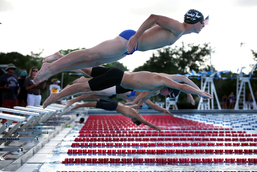 MAE GAMMINO/SPECIAL TO TREASURE COAST NEWSPAPERS<br /> <br /> Sebastian River High School's Koly Golliher launches off the block at the start of the 100 meter free on Tuesday, September 10, at North County Aquatic Center in Sebastian. <br /> <br /> Koly Golliher CQ<br /> TAKEN 09/10/2013