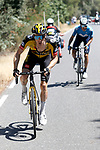 Steven Kruijswijk (NED) Jumbo-Visma attacks on the final climb of Stage 15 of La Vuelta d'Espana 2021, running 197.5km from Navalmoral de la Mata to El Barraco, Spain. 29th August 2021.     <br /> Picture: Luis Angel Gomez/Photogomezsport | Cyclefile<br /> <br /> All photos usage must carry mandatory copyright credit (© Cyclefile | Luis Angel Gomez/Photogomezsport)