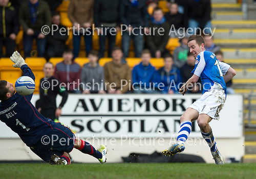 St Johnstone v Kilmarnock.....09.03.13      SPL.Cammy Bell pushes Steven MacLean's shot wide of the post.Picture by Graeme Hart..Copyright Perthshire Picture Agency.Tel: 01738 623350  Mobile: 07990 594431