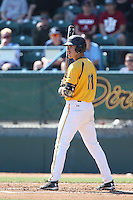 Richard Prigatano #11 of the Long Beach State Dirtbags bats against the Indiana Hoosiers at Blair Field on March 15, 2014 in Long Beach, California. Indiana defeated Long Beach State 2-1. (Larry Goren/Four Seam Images)