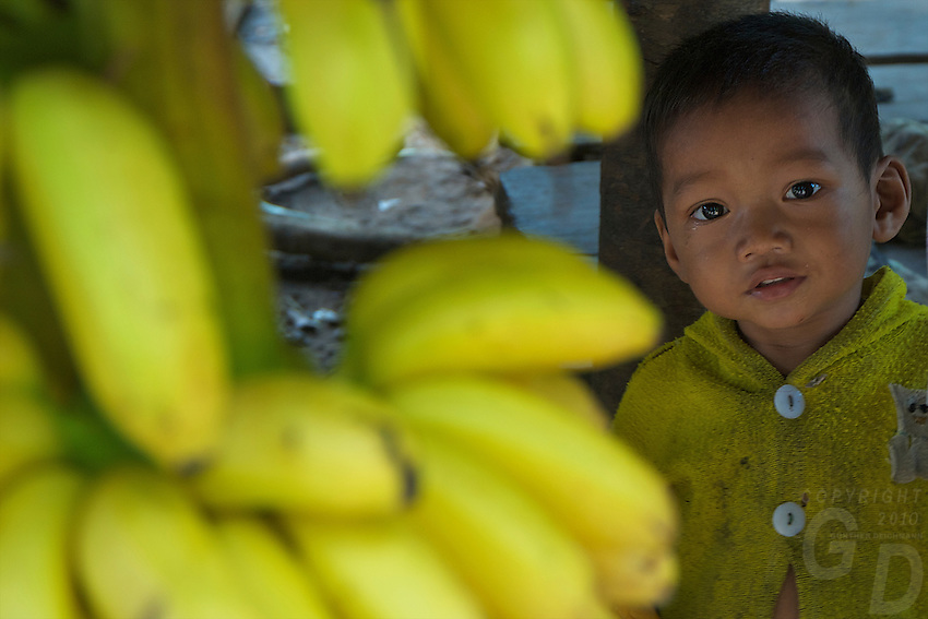 Young Child at thesacret Phnom Kulen MT. Cambodia