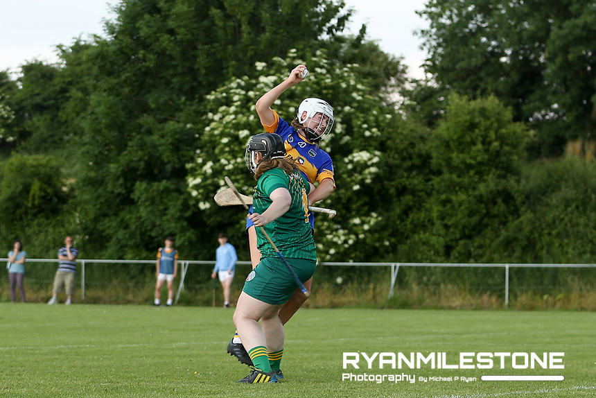 Tipperary's Megan Ryan in action against  Emily Mangan of Meath during the Liberty Insurance All Ireland Senior Camogie Championship Round 1 between Tipperary and Meath at the Ragg, Co Tipperary. Photo By Michael P Ryan.