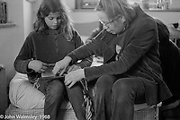 Sewing for everyone, Summerhill school, Leiston, Suffolk, UK. 1968.