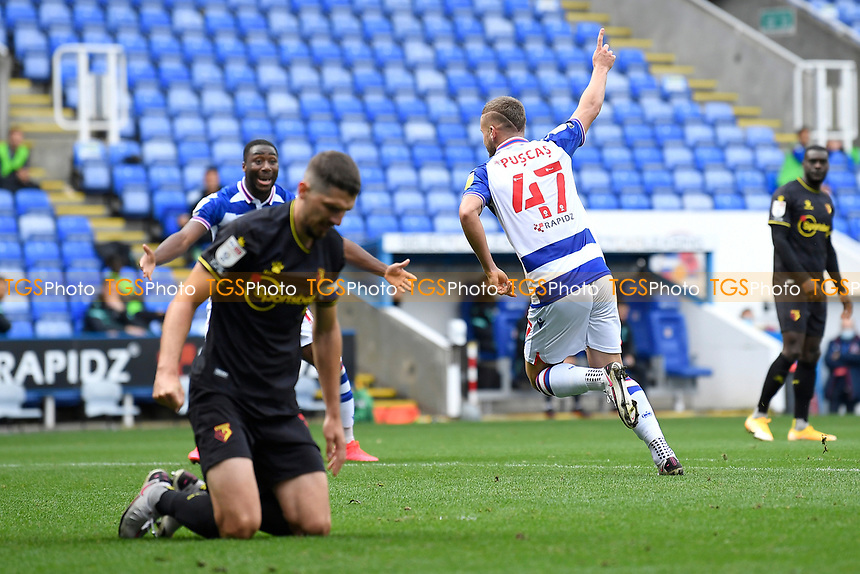 George Puscas of Reading scores the goal and celebrates during Reading vs Watford, Sky Bet EFL Championship Football at the Madejski Stadium on 3rd October 2020