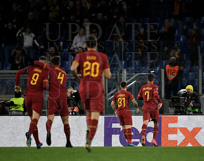 Football Soccer: UEFA Europa League round of 32 first leg AS Roma vs KAA Gent, Olympic stadium, Rome, 20 February, 2020.<br /> Roma's Carles Pérez (second right) celebrates after scoring with his teammates during the Europa League football match between Roma and Gent at the Olympic stadium in Rome on 20 February, 2020.<br /> UPDATE IMAGES PRESS/Isabella Bonotto