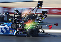 Nov 16, 2019; Pomona, CA, USA; NHRA top fuel driver Leah Pritchett during qualifying for the Auto Club Finals at Auto Club Raceway at Pomona. Mandatory Credit: Mark J. Rebilas-USA TODAY Sports