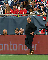 FOXBOROUGH, MA - JULY 25: New England Revolution coach Bruce Arena during a game between CF Montreal and New England Revolution at Gillette Stadium on July 25, 2021 in Foxborough, Massachusetts.