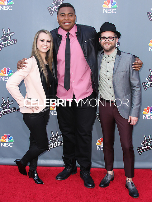 """UNIVERSAL CITY, CA, USA - APRIL 15: Bria Kelly, T.J. Wilkins, Josh Kaufman at NBC's """"The Voice"""" Season 6 Top 12 Red Carpet Event held at Universal CityWalk on April 15, 2014 in Universal City, California, United States. (Photo by Xavier Collin/Celebrity Monitor)"""