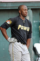 Outfielder Mel Rojas Jr. (24) of the West Virginia Power, Class A affiliate of the Pittsburgh Pirates, prior to a game against the Savannah Sand Gnats on July 21, 2011, at Grayson Stadium in Savannah, Georgia. (Tom Priddy/Four Seam Images)