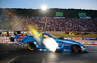 Jul 19, 2019; Morrison, CO, USA; NHRA funny car driver Matt Hagan during qualifying for the Mile High Nationals at Bandimere Speedway. Mandatory Credit: Mark J. Rebilas-USA TODAY Sports