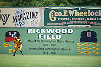 Jacksonville Suns outfielder Carlos Lopez (7) in the outfield during the 20th Annual Rickwood Classic Game against the Birmingham Barons on May 27, 2015 at Rickwood Field in Birmingham, Alabama.  Jacksonville defeated Birmingham by the score of 8-2 at the countries oldest ballpark, Rickwood opened in 1910 and has been most notably the home of the Birmingham Barons of the Southern League and Birmingham Black Barons of the Negro League.  (Mike Janes/Four Seam Images)