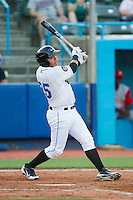 Wilmer Dominguez (25) of the Hudson Valley Renegades follows through on his swing against the Brooklyn Cyclones at Dutchess Stadium on June 18, 2014 in Wappingers Falls, New York.  The Cyclones defeated the Renegades 4-3 in 10 innings.  (Brian Westerholt/Four Seam Images)