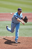 Old Dominion Monarchs starting pitcher Ryne Moore (42) in action against the Charlotte 49ers at Hayes Stadium on April 25, 2021 in Charlotte, North Carolina. (Brian Westerholt/Four Seam Images)
