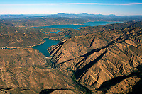 aerial photograph of Lake Berryessa, Napa County, California; Monticello Dam and Putah Creek in the middle and foreground