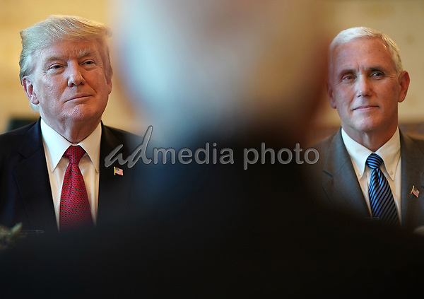 United States President Donald Trump (L) and Vice President Mike Pence (R) listen as Indian Prime Minister Narendra Modi (C) offers remarks before dinner at the White House June 26, 2017 in Washington, DC. Trump and Modi met earlier today in the Oval Office to discuss a range of bilateral issues. Photo Credit: Win McNamee/CNP/AdMedia