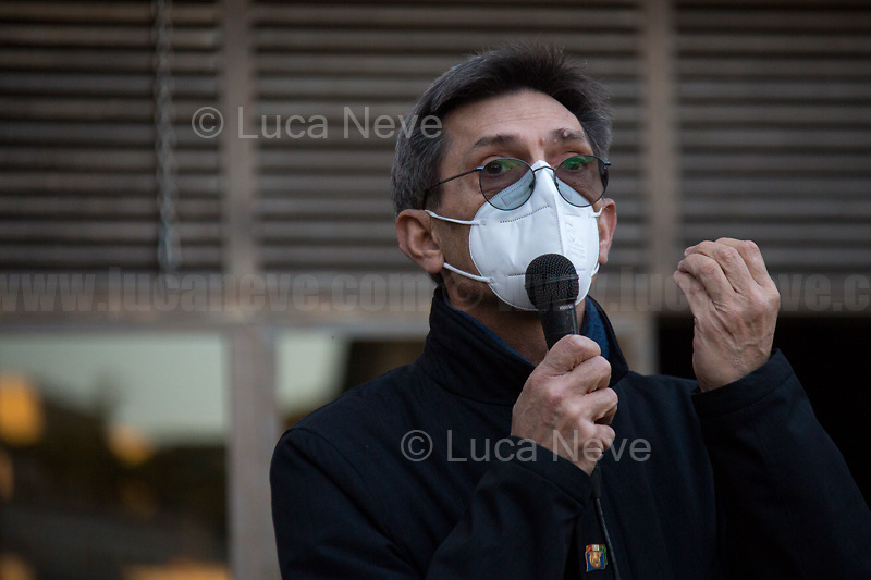 Marco Trasciani, President of ANFIM (Associazione nazionale famiglie italiane martiri caduti per la libertà della patria, National Association of the Italian Families of the Martyrs who died for the Freedom of Italy). <br /> <br /> Rome, Italy. 24th Mar, 2021. Today, Citizens of Rome, Antifascists, various organizations, Institutions and the President of the Italian Republic, Sergio Mattarella, pay tribute to the victims of the Fosse Ardeatine massacre in which, 77 years ago, on the 24th March 1944, 335 people were assassinated by the nazi-fascist occupation troupes in Rome. It was one of the most atrocious massacre perpetrated during World War II for retaliation against the Resistance and the Civilians.    <br /> <br /> Footnotes & Links:<br /> (Source, Treccani.it ITA) http://bit.do/fPZXL <br /> (Source, Jewishvirtuallibrary.org ENG) http://bit.do/fPZXu<br /> (Source, Wikipedia.org ENG) http://bit.do/fPZXW <br /> Today's Events: https://www.facebook.com/events/4526526500707783/ & https://www.facebook.com/events/1096587897511737/