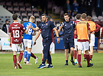 Arbroath v St Johnstone…15.08.21  Gayfield Park      Premier Sports Cup<br />Callum Davidson shakes hands with Chris Hamilton at full time<br />Picture by Graeme Hart.<br />Copyright Perthshire Picture Agency<br />Tel: 01738 623350  Mobile: 07990 594431