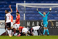 Bolton Wanderers' goalkeeper/coach Matthew Gilks appeals for a goal kick<br /> <br /> Photographer Andrew Kearns/CameraSport<br /> <br /> The EFL Sky Bet League Two - Bolton Wanderers v Salford City - Friday 13th November 2020 - University of Bolton Stadium - Bolton<br /> <br /> World Copyright © 2020 CameraSport. All rights reserved. 43 Linden Ave. Countesthorpe. Leicester. England. LE8 5PG - Tel: +44 (0) 116 277 4147 - admin@camerasport.com - www.camerasport.com