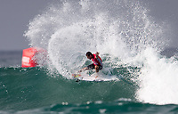 Huntington Beach, CA - Saturday August 05, 2017: Filipe Toledo during a World Surf League (WSL) Qualifying Series (QS) fifth round heat in the 2017 Vans US Open of Surfing on the South side of the Huntington Beach pier.