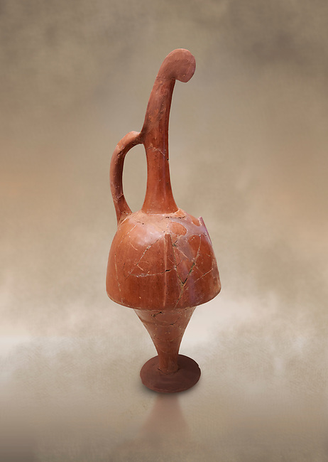 Hittite terra cotta beak shaped long top neck pitcher. Hittite Empire, Alaca Hoyuk, 1450 - 1200 BC. Alaca Hoyuk. Çorum Archaeological Museum, Corum, Turkey. Against a warm art bacground.