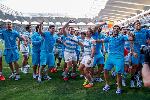 14th November 2020, Sydney, Australia;  Argentina celebrate after beating the All Blacks. Tri Nations rugby union test match,  New Zealand All Blacks versus Argentina Pumas. Bankwest Stadium, Sydney, Australia.