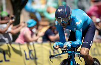 Alejandro Valverde (ESP/Team Movistar) focus. <br /> <br /> Stage 3 (Team Time Trial): Cholet > Cholet (35km)<br /> <br /> 105th Tour de France 2018<br /> ©kramon