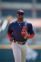 Pawtucket Red Sox right fielder Rusney Castillo (38) jogs off the field during a game against the Buffalo Bisons on June 28, 2018 at Coca-Cola Field in Buffalo, New York.  Buffalo defeated Pawtucket 8-1.  (Mike Janes/Four Seam Images)