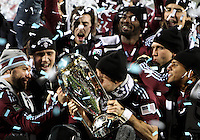 Drew Moor kisses the trophy During post game trophy Celebration after MLS Cup 2010 at BMO Stadium in Toronto, Ontario on November 21 2010.