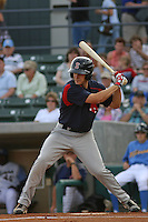 Pete Hissey #10 of the Salem Red Sox at bat during a game against the Myrtle Beach Pelicans on May 14, 2010 at BB&T Coastal Field in Myrtle Beach, SC.