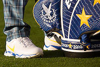23.09.2014. Gleneagles, Auchterarder, Perthshire, Scotland.  The Ryder Cup.  Detail of the Team Europe Ryder cup bag during the team photo call.