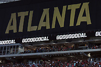 Mercedes Benz Stadium goal signAtlanta, Georgia - Saturday, April 28, 2018. Atlanta United defeated the Montreal Impact, 4-1, in front of a crowd of 45,039 at Mercedes-Benz Stadium.