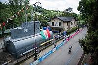 Christopher Juul-Jensen (DEN/BikeExchange)a passing by (what remains of) a submarine<br /> <br /> 104th Giro d'Italia 2021 (2.UWT)<br /> Stage 1 (ITT) from Turin to Turin (8.6 km)<br /> <br /> ©kramon