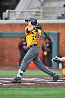Appalachian State Mountaineers third baseman Bailey Welch (3) swings at a pitch during a game against the Tennessee Volunteers at Lindsey Nelson Stadium on February 16, 2019 in Knoxville, Tennessee. The Volunteers defeated Mountaineers 2-0. (Tony Farlow/Four Seam Images)