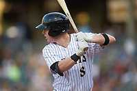 Zack Collins (8) of the Charlotte Knights at bat against the Buffalo Bisons at BB&T BallPark on July 24, 2019 in Charlotte, North Carolina. The Bisons defeated the Knights 8-4. (Brian Westerholt/Four Seam Images)