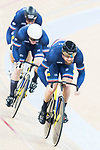 The team of France with Benjamin Edelin, Sebastien Vigier and Quentin Lafargue compete in Men's Team Sprint - Qualifying match as part of the 2017 UCI Track Cycling World Championships on 12 April 2017, in Hong Kong Velodrome, Hong Kong, China. Photo by Victor Fraile / Power Sport Images