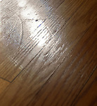 Red Oak flooring scratches from rolltop repositioning in middle of room during transit.