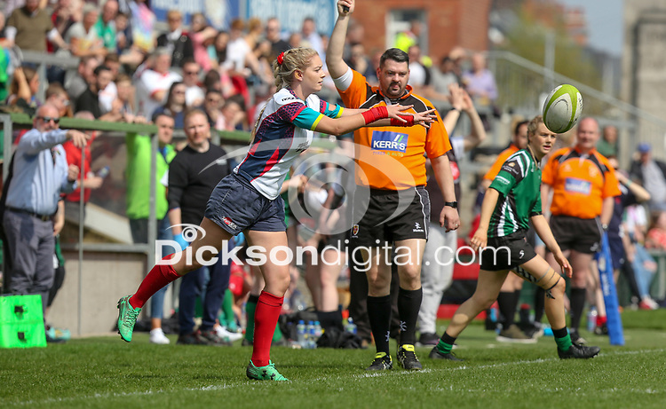 Saturday 20th April 2019 | 2019 Ulster Women's Junior Cup Final<br /> <br /> Jasmine Ward takes a quick throw in during the Ulster Women's Junior Cup final between Malone and City Of Derry at Kingspan Stadium, Ravenhill Park, Belfast. Northern Ireland. Photo John Dickson/Dicksondigital